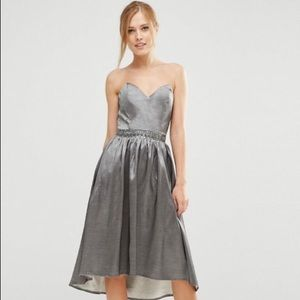 New Gray Dress With Sweetheart Neck | size 8